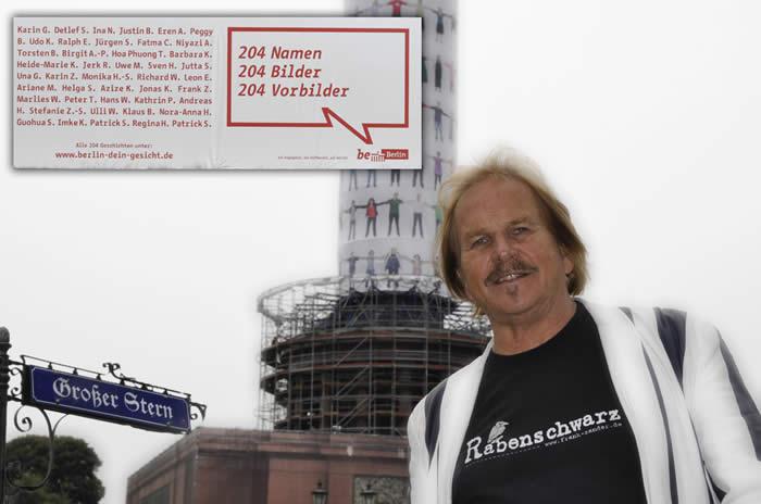 August 2010 - Frank Zander und 203 weitere Berliner schmücken die Siegessäule