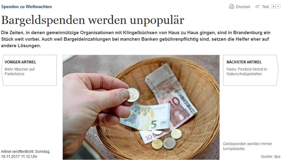 Bargeldspenden werden unpopulär
